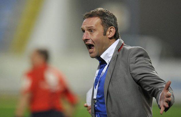 Trenér Slovácka Svatopluk Habanec v utkání proti Liberci.