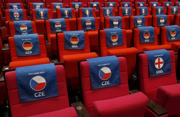 Místa pro českou delegaci při losování ME 2016.