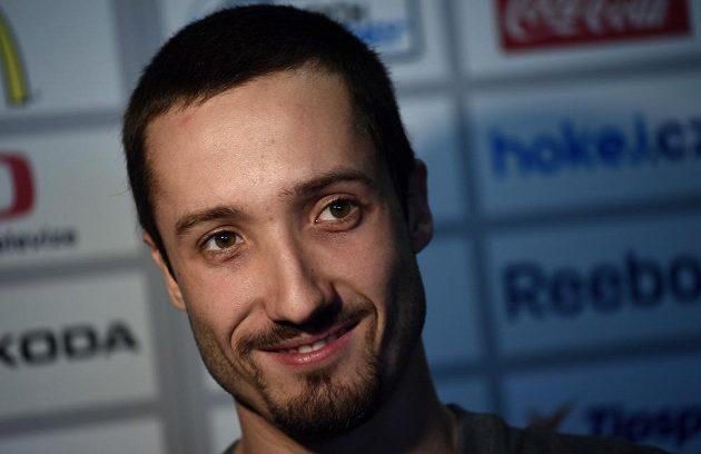 Brankář Štěpán Hrubec během sraz české hokejové reprezentace.