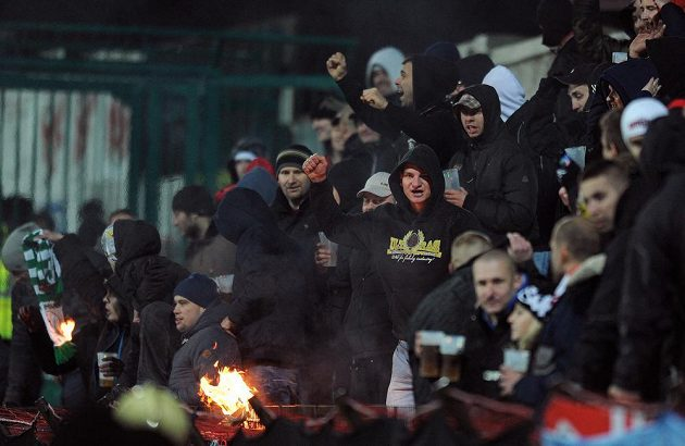 Fanoušci Brna během utkání 16. kola Gambrinus ligy mezi Bohemians 1905 a FC Zbrojovka Brno.