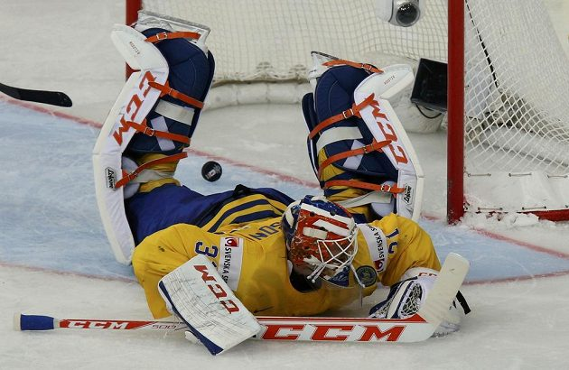 Švédský brankář Anders Nilsson poté, co dostal gól od Geoffa Platta z Běloruska.