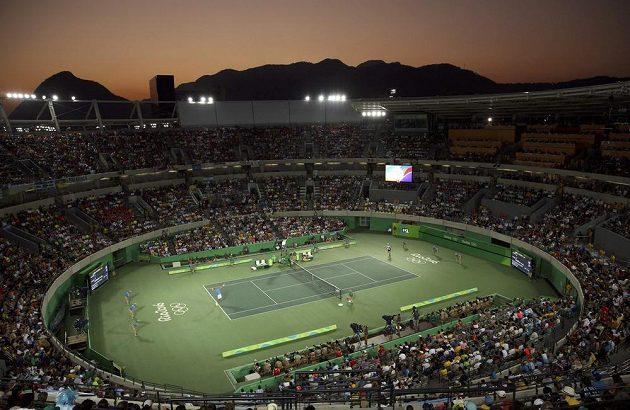 Centrkurt v brazilském Riu de Janeiru během finále mužské dvouhry mezi obhájcem zlata z OH Andym Murraym a Juanem Martínem del Potrem.