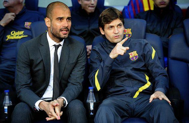 Ještě před dvěma lety spolu Pep Guardiola (vlevo) a Tito Vilanova seděli na lavičce fotbalistů Barcelony.