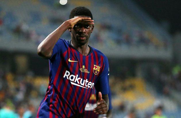 Spanish Super Cup , Barcelonský Ousmane Dembélé se raduje z gólu proti Seville.