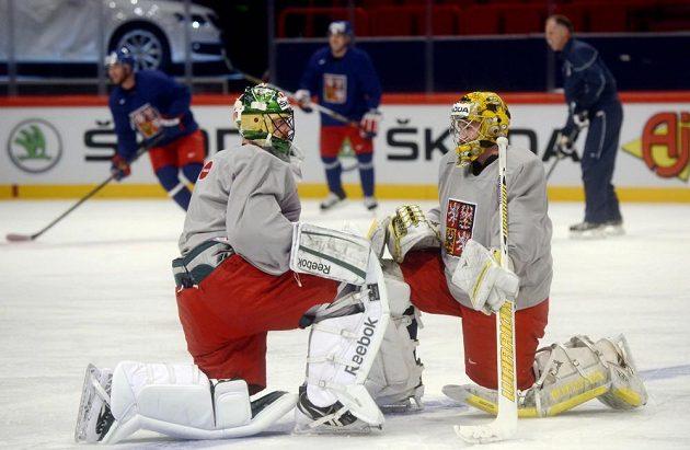 Brankáři Alexander Salák (vlevo) a Pavel Francouz v hale Globen ve Stockholmu na tréninku české hokejové reprezentace.