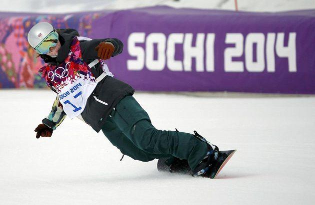 Šárka Pančochová v cíli první jízdy finále slopestylu na hrách v Soči.