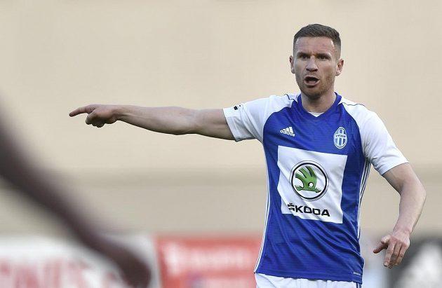 Muris Mešanovič z Mladé Boleslavi v akci během utkání nejvyšší soutěže fotbalistů.