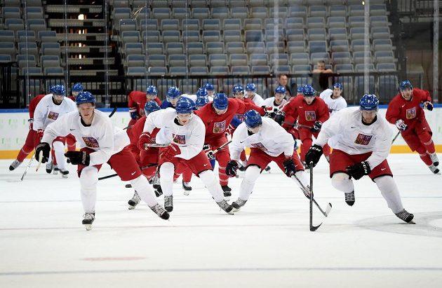 První trénink české hokejové reprezentace v pražské O2 areně.
