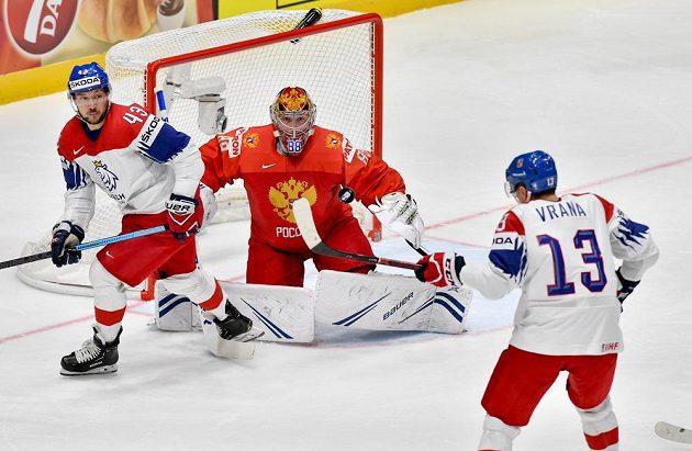 Ani Jan Kovář, ani Jakub Vrána na ruského brankáře Andreje Vasilevského nevyzráli.