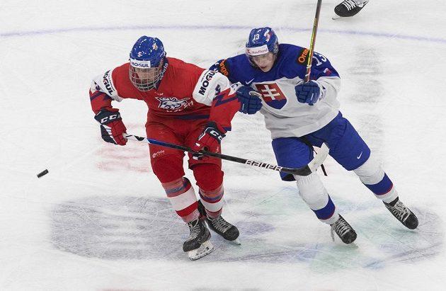 Slovenský hokejista Jakub Kolenič a český hokejista Stanislav Svozil během přípravného zápasu před MS hráčů do 20 let.