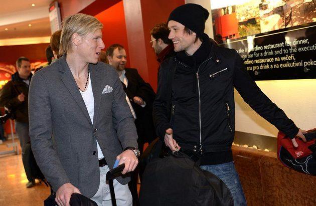 František Rajtoral (vlevo) a Tomáš Rosický na srazu české fotbalové reprezentace před utkáním s Norskem.