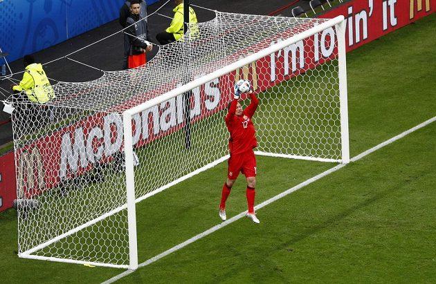 Ukrajinský gólman Andrej Pjatov při zákroku během utkání se Severním Irskem.