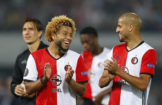 Tonny Trindade a Karim El Ahmadi (vpravo) z Feyenoordu po skončení zápasu.