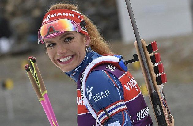 Gabriela Koukalová přijela do Nového Města na Moravě v dobré náladě.