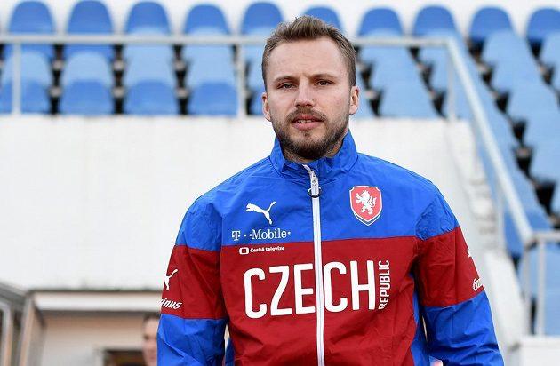Obránce Michal Kadlec na tréninku české fotbalové reprezentace před kvalifikačním utkáním s Lotyšskem.