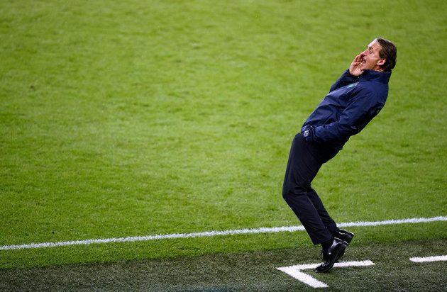 Trenér Italů Roberto Mancini při finále s Anglií ve Wembley.