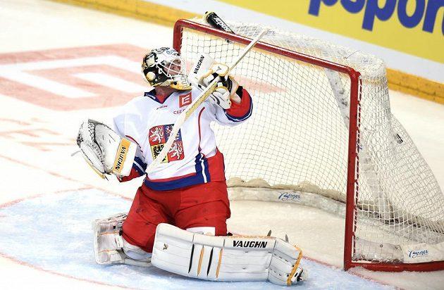 Český brankář Pavel Francouz dostává šestý gól během se Švédskem v Praze.