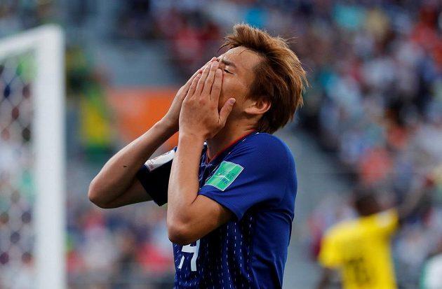 Japonec Takaš Inui reaguje během duelu se Senegalem.