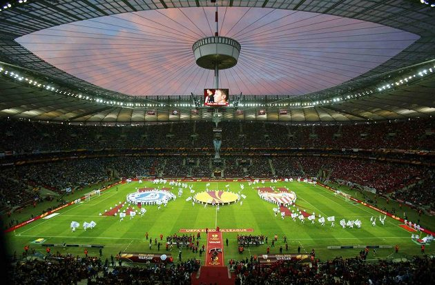Varšavský stadión těsně před finálovým utkáním Evropské ligy.