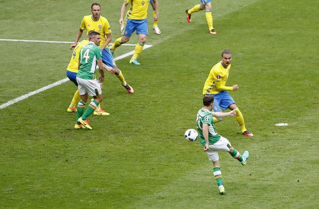 Ir Wes Hoolahan střílí gól do švédské sítě.