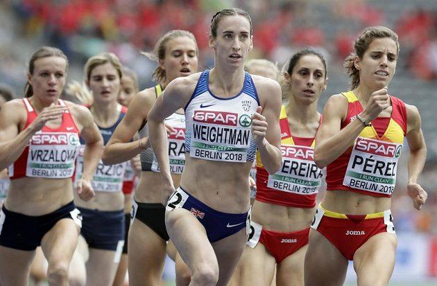 Semifinále běhu na 1500 metrů žen v rámci ME v atletice v Berlíně. Úplně vlevo česká reprezentantka Simona Vrzalová.