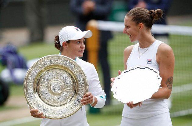 Finalistky Wimbledonu Ashleigh Bartyová z Austrálie a Karolína Plíšková.