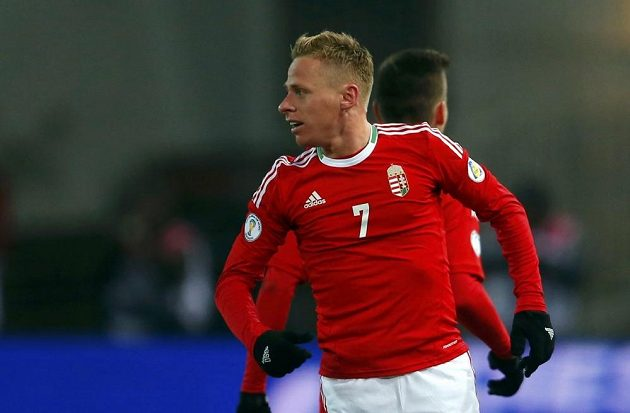 Maďarský fotbalista Balazs Dzsudzsak se raduje z gólu proti Rumunsku.