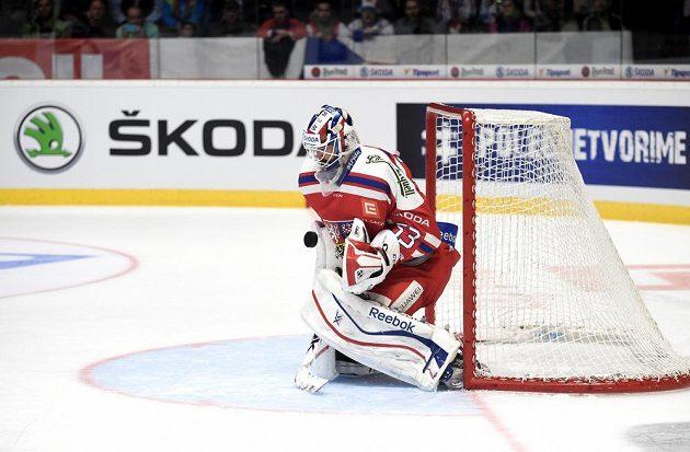 Alexander Salák v utkání s Finskem.