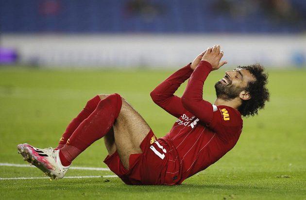 Liverpoolský kanonýr Mohamed Salah se mohl smát, v Brightonu se dvakrát zapsal do listiny střelců a Reds vyhráli.