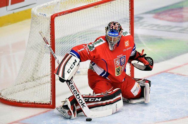 Brankář české hokejové reprezentace Jakub Kovář v utkání Euro Hockey Challenge s Norskem.