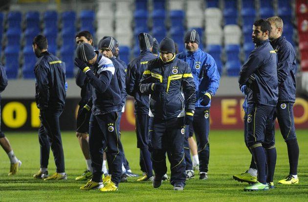 Trénink fotbalistů Fenerbahce Istanbul ve Štruncových sadech v Plzni.