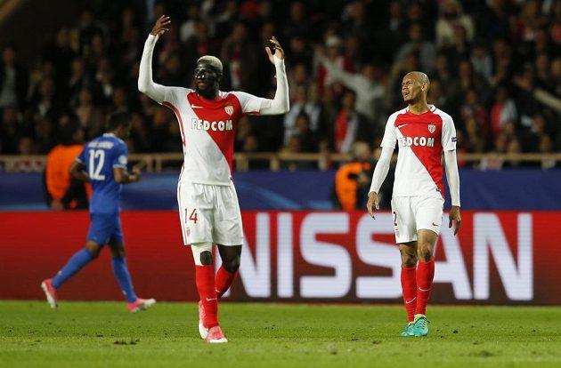 Monačtí fotbalisté Tiemoue Bakayoko a Fabinhoběhem semifinále Ligy mistrů s Juventusem.