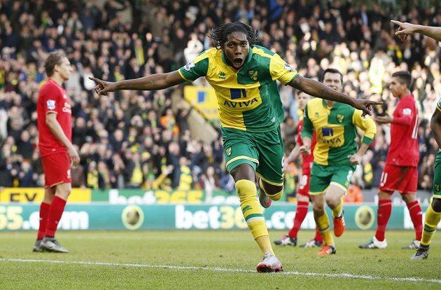 Forvard Norwiche Dieumerci Mbokani slaví svůj gól do sítě Liverpoolu v zápase Premier League.