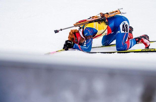 Gabriela Soukalová v cíli vytrvalostního závodu na MS v Oslu.