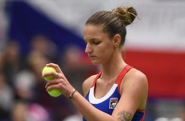 Karolína Plíšková v duelu s Garbiňe Muguruzaovou v 1. kole Fed Cupu.
