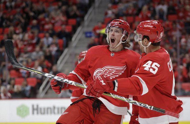 Obránce Libor Šulák z Detroitu Red Wings (vlevo) slaví svůj gól v přípravném utkání na nový ročník NHL. K zásahu mu gratuluje spoluhráč Colin Campbell.