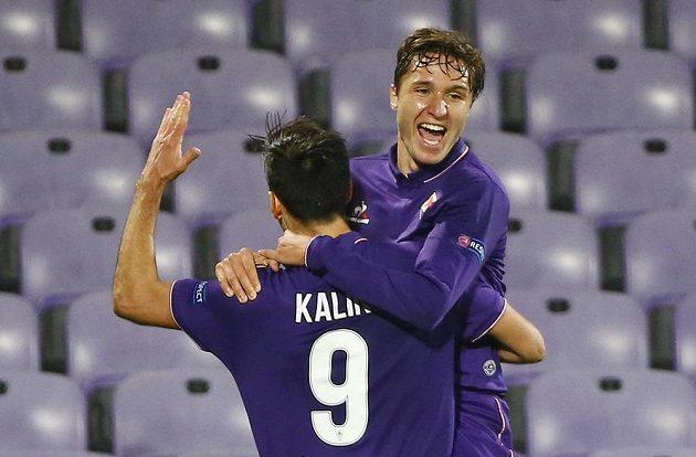 Nikola Kalinič (vlevo) se raduje z gólu proti Liberci.