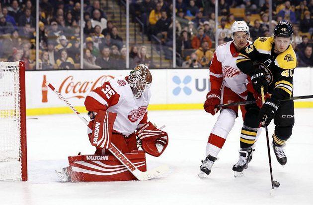 Brankář Detroitu Red Wings Jimmy Howard sleduje počínání Dantona Heinena z Bostonu v utkání NHL. Útočícímu hráči se snaží znepříjemnit zakončení obránce Detroitu Danny DeKeyser (65).