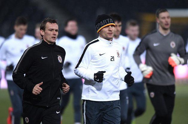 Sparťanský útočník David Lafata během středečního tréninku před utkáním Evropské ligy s Young Boys Bern.