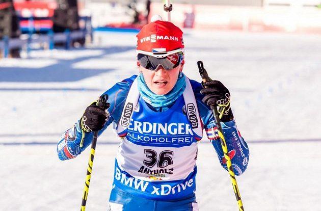 Česká biatlonistka Veronika Vítková během sprintu v rámci SP v Anterselvě.