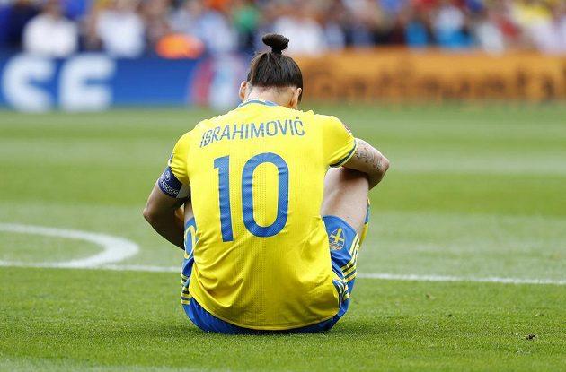 Švéd Zlatan Ibrahimovic během utkání s Itálií.
