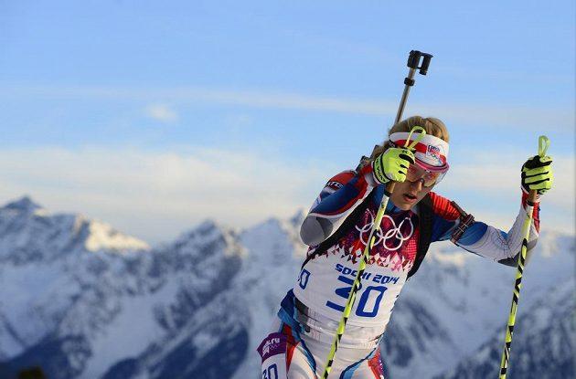 Česká biatlonistka Gabriela Soukalová na trati intervalového závodu na 15 km.