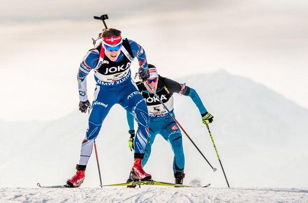 Český biatlonista Ondřej Moravec při závodu smíšených štafet na MS v rakouském Hochfilzenu.