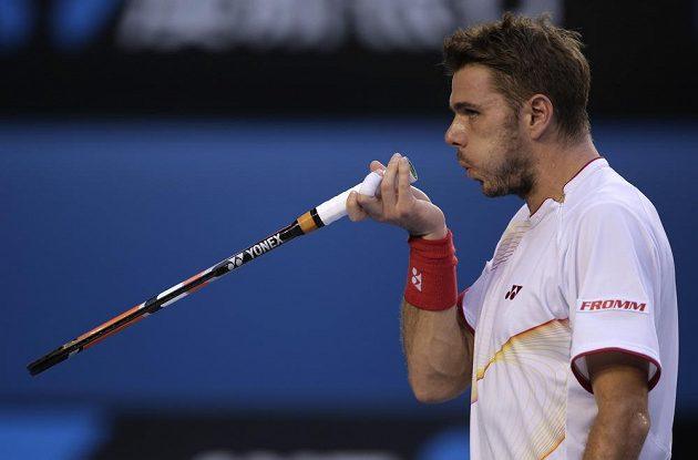 Stanislas Wawrinka v utkání s Tomášem Berdychem v semifinále Australian Open.