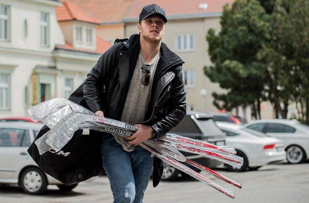 Útočník David Pastrňák na srazu hokejové reprezentace ve Znojmě.