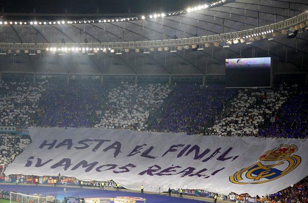 Fanoušci Realu Madrid během finále Ligy mistrů.
