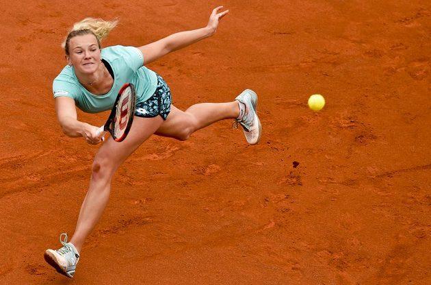 Kateřina Siniaková během zápasu s Petrou Kvitovou.