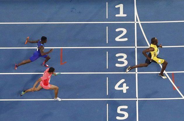 Jamajčan Usain Bolt finišoval ve štafetě na 4x100 metrů na prvním místě s náskokem před Japonskem a USA.