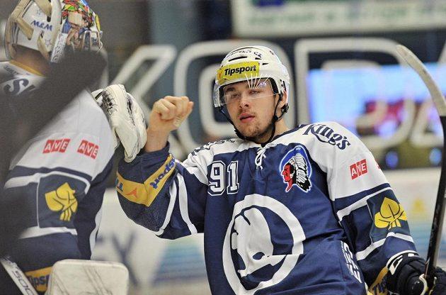 Plzeňský Dominik Simon se raduje z proměněného nájezdu proti Olomouci.