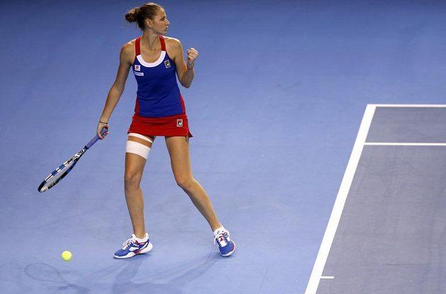 Gesto Karolíny Plíškové během utkání s Francouskou Caroline Garciaovou ve finále Fed Cupu